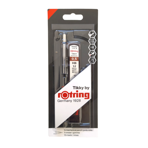 Rotring zestaw tikky ołówek aut 0,5mm czarny+wkład+gumka t30