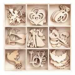 DP Craft kształty z drewna ślub 45 sztuk