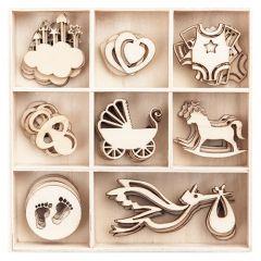DP Craft kształty z drewna baby 40 sztuk