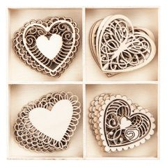 DP Craft kształty z drewna serca 20 sztuk