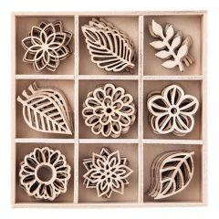 DP Craft kształty z drewna liście 45 sztuk