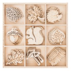 DP Craft kształty z drewna las 45 sztuk