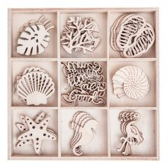 DP Craft kształty z drewna wakacje 45 sztuk